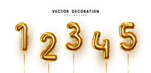 Golden Number Balloons. Foil And Latex Balloons. Helium Ballons. Party, Birthday, Celebrate Anniversary And Wedding. Realistic Design Elements. Festive 3d Render, Set Isolated. Vector Illustration