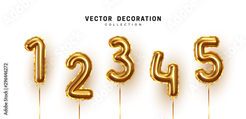 Fotomural  Golden Number Balloons