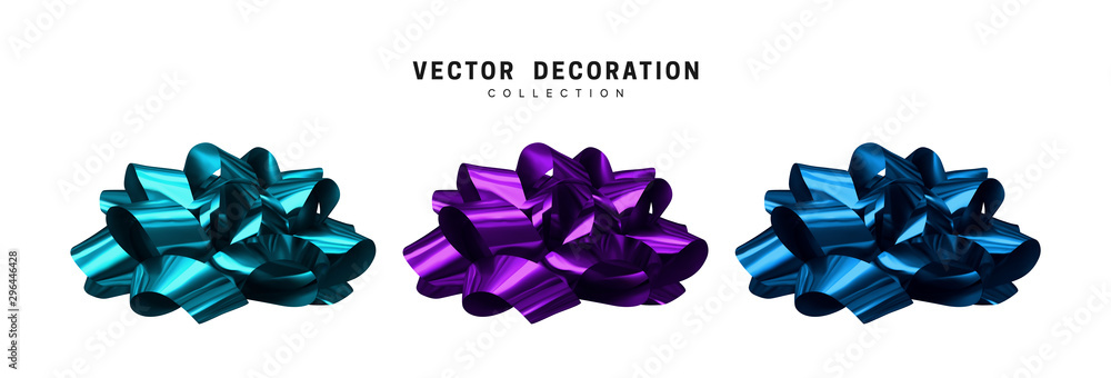 Fototapeta Set of bows blue and violet. Realistic isolated on white background.
