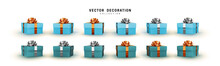 Set Of Gifts Box. Collection Realistic Gift Presents. Surprise Boxes. Celebration Decoration Objects. Isolated On White Background. Vector Illustration