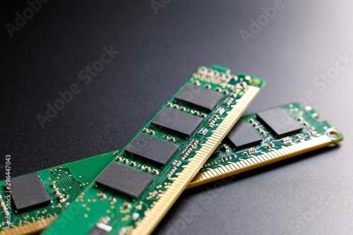 Fotografie, Obraz Two computer RAM modules on a dark background