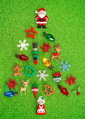 A Christmas Tree Made of Various Toys and Christmas Decorations