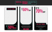Social Media Instagram Story Vector Template Design Midnight Sale Discount Promotion With Neon Pink And Blue Modern Style