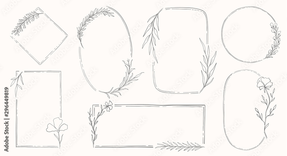 Fototapety, obrazy: Plant nature frame set. Decor botanical element.Elegante vintage style.