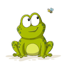 Funny Cartoon Frog With Bee. H...