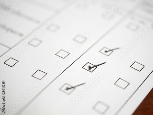 Black marking on checklist box,clos up.Checklist concept Wallpaper Mural