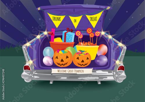 Fotografiet Trunk or Treat Halloween Night