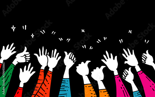 hand drawn of hands clapping ovation Canvas Print