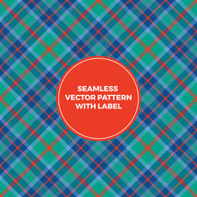 Blue, Green And Red Tartan Plaid Seamless Vector Pattern With Label Frame With Copy Space For Text. Elegant Design Template For Christmas Packaging, Covers Or Gift Wrapping.