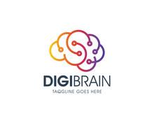 Creative Digital Brain Logo Design Template