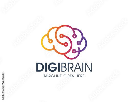 Creative Digital Brain Logo Design Template Wall mural