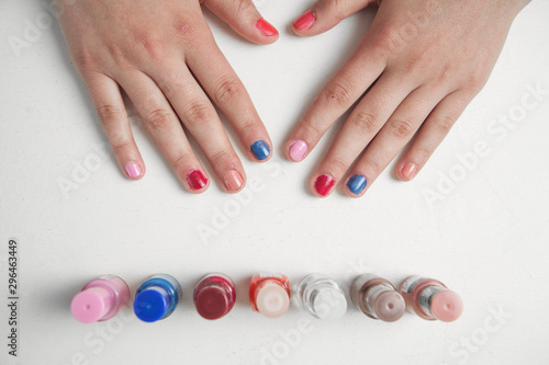 Girl hands with beauty style manicure.