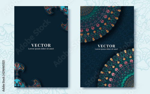 Vintage ornate cards in oriental style. Vector illustration Canvas Print