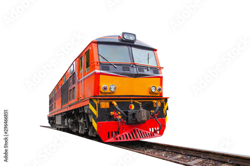 Cuadros en Lienzo head train hauled diesel electric locomotive with isolated white background