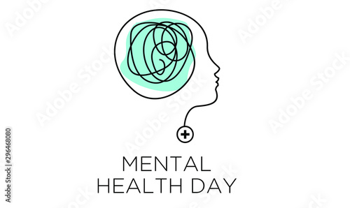 Obraz mental health depression awareness illustration vector banner - fototapety do salonu