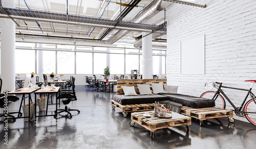 Fotografía  3d modern business office interior