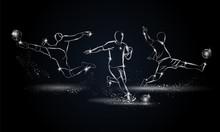 Soccer Players Set. Metallic L...
