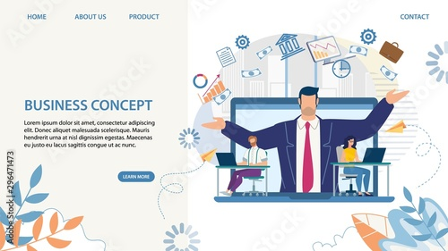 Photo  Business Landing Page with Cartoon Skilled Leader