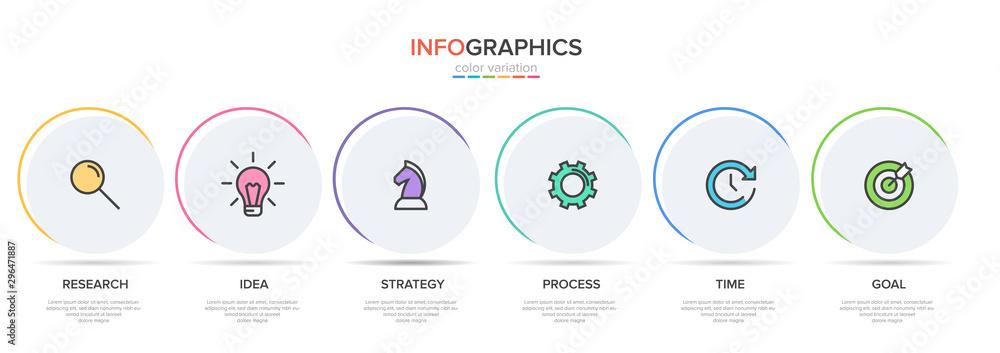 Fototapeta Concept of arrow business model with 6 successive steps. Six colorful graphic elements. Timeline design for brochure, presentation. Infographic design layout.