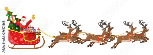 Obraz Santa claus on sleigh full of gifts, christmas tree and his reindeers. Happy new year decoration. Merry christmas holiday. New year and xmas celebration. Vector illustration in flat style - fototapety do salonu