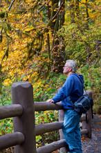 Senior Man Viewing Fall Autumn...