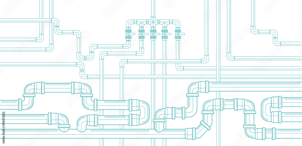 Fototapeta Horizontal background with pipeline. Water supply and sewerage system. Plastic pipes. Vector illustration.