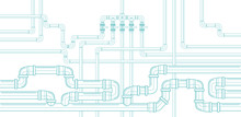 Horizontal Background With Pipeline. Water Supply And Sewerage System. Plastic Pipes. Vector Illustration.