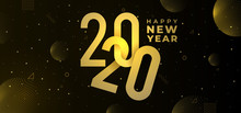 Trendy Happy New Year 2020 Greeting Modern Design. Vector Eps 10. Modern Golden Texture With Lights Elegant And Luxury Style Background Template Celebration.
