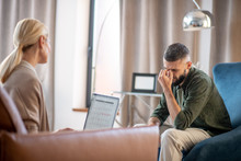Dark-haired Man Feeling Concerned While Visiting Psychoanalyst