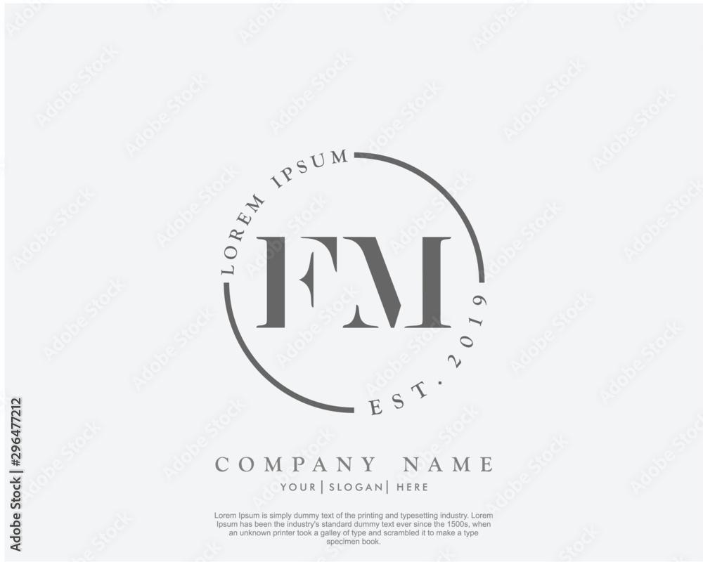 Fototapety, obrazy: Initial letter FM beauty handwriting logo vector