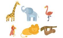 Set Of Exotic Cartoon Animals....