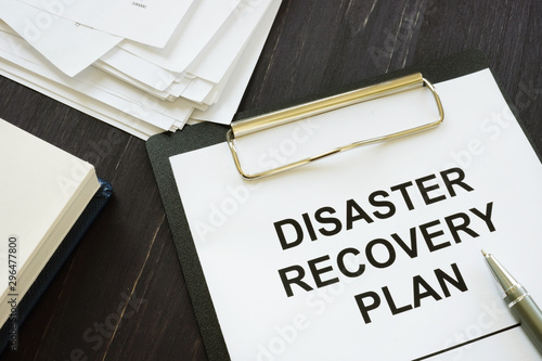 Conceptual photo showing printed text Disaster recovery plan Fototapet