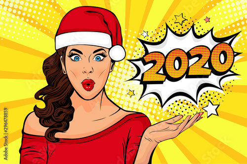Obraz na plátně 2020 New Year comic book style postcard or greeting card with WOW sexy young girl