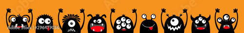 Happy Halloween. Monster black silhouette head face icon set line. Eyes, tongue, tooth fang, hands up. Cute cartoon kawaii scary funny baby character. Orange background. Flat design.