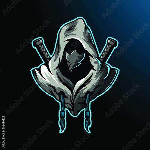 Ninja assassin mascot for sport and esport or gamer logo Canvas Print