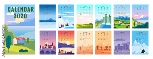 Fototapeta 2020 Calendar minimalistic landscape natural backgrounds of four seasons obraz
