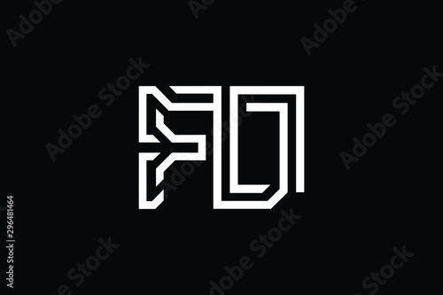 Obraz Initial FD DF OF FO modern monogram and elegant logo design, Professional Letters Vector Icon Logo on black background. - fototapety do salonu