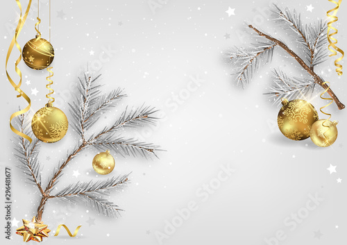 Christmas Background with Wintry Coniferous Branches and Golden Christmas Balls Canvas Print