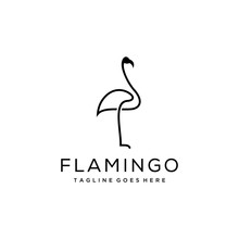 Minimalist Flamingo Bird Logo Template.