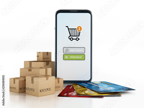 Fotografía  Smartphone, cargo boxes and credit card isolated on white background