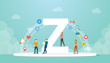 Generation Z Concept People With Team And People Icons Related With Modern Flat Style - Vector
