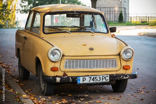 Αφίσα Old yellow Trabant 601s car on the street