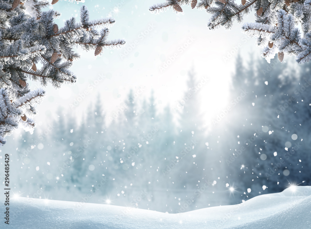 Fototapety, obrazy: Beautiful winter landscape with snow covered trees.Merry Christmas and happy New Year greeting background with copy-space.