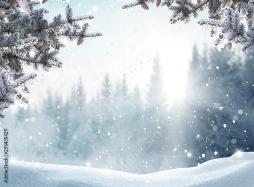 Arbre Beautiful winter landscape with snow covered trees.Merry Christmas and happy New Year greeting background with copy-space.