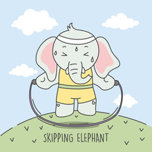 Elephant Skipping To Make The Body Ideal Illustration.