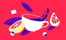 Tea Time Pop Art Style. Tea Leaves, Tea, Cup, Glass, Isometric Illustration, Set
