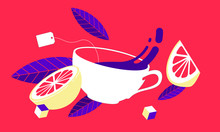 Tea Time Pop Art Style. Tea Le...