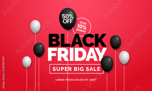 Fotografía  Black friday sale 50% off poster background social media promotion web banner te