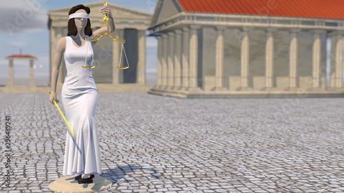 Statue of Justice, Themis, Femida with scales and a sword in his hands Fototapet