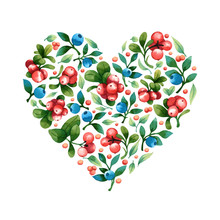 Vector Heart Shape With Leaves And Berries